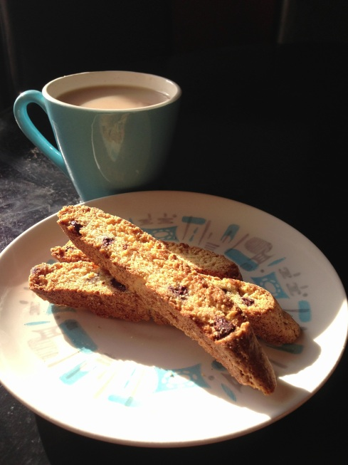 Chocolate chip biscotti with morning tea.